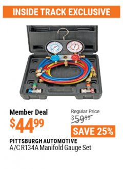 Harbor Freight ITC Coupon A/C R134A MANIFOLD GAUGE SET Lot No. 60806/62707/92649 Expired: 4/29/21 - $44.99