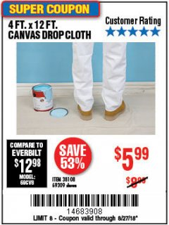 Harbor Freight Coupon 4 FT. x 12 FT. CANVAS DROP CLOTH Lot No. 69309/38108 Expired: 8/27/18 - $5.99