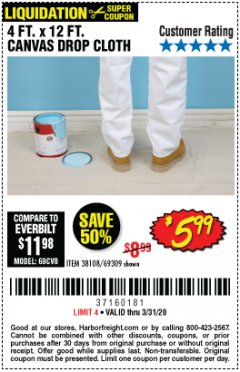 Harbor Freight Coupon 4 FT. x 12 FT. CANVAS DROP CLOTH Lot No. 69309/38108 Expired: 3/31/20 - $5.99
