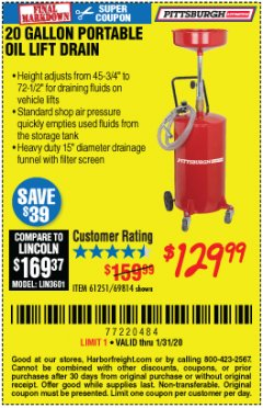 Harbor Freight Coupon 20 GALLON PORTABLE OIL LIFT DRAIN Lot No. 69814/61251/66786 Valid Thru: 1/31/20 - $129.99