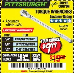 Harbor Freight Coupon TORQUE WRENCHES Lot No. 2696/61277/807/61276/239/62431 Expired: 9/10/18 - $9.99