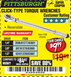 Harbor Freight Coupon TORQUE WRENCHES Lot No. 2696/61277/807/61276/239/62431 Expired: 11/10/18 - $9.99