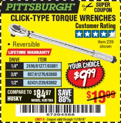 Harbor Freight Coupon TORQUE WRENCHES Lot No. 2696/61277/807/61276/239/62431 Expired: 11/18/18 - $9.99