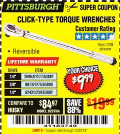 Harbor Freight Coupon TORQUE WRENCHES Lot No. 2696/61277/807/61276/239/62431 Expired: 12/20/18 - $9.99