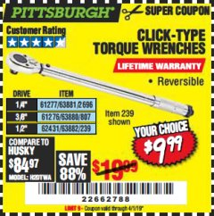 Harbor Freight Coupon TORQUE WRENCHES Lot No. 2696/61277/807/61276/239/62431 Valid Thru: 4/1/19 - $9.99
