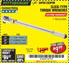 Harbor Freight Coupon TORQUE WRENCHES Lot No. 2696/61277/807/61276/239/62431 Expired: 5/9/19 - $9.99