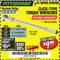 Harbor Freight Coupon TORQUE WRENCHES Lot No. 2696/61277/807/61276/239/62431 Valid Thru: 5/4/19 - $9.99