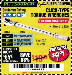Harbor Freight Coupon TORQUE WRENCHES Lot No. 2696/61277/807/61276/239/62431 Expired: 5/22/19 - $9.99