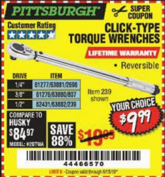 Harbor Freight Coupon TORQUE WRENCHES Lot No. 2696/61277/807/61276/239/62431 Expired: 6/15/19 - $9.99