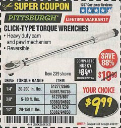 Harbor Freight Coupon TORQUE WRENCHES Lot No. 2696/61277/807/61276/239/62431 Expired: 4/30/19 - $9.99