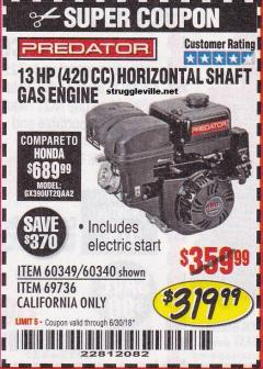 Harbor Freight Coupon 13 HP (420 CC) OHV HORIZONTAL SHAFT GAS ENGINES Lot No. 60349/60340/69736 Expired: 6/30/18 - $319.99