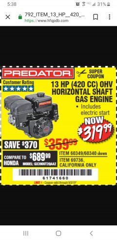 Harbor Freight Coupon 13 HP (420 CC) OHV HORIZONTAL SHAFT GAS ENGINES Lot No. 60349/60340/69736 Valid Thru: 9/3/19 - $319.99