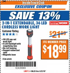 Harbor Freight ITC Coupon 2-IN-1 EXTENDABLE, 36 LED CORDLESS WORK LIGHT Lot No. 60583 Expired: 5/22/18 - $18.99
