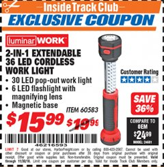 Harbor Freight ITC Coupon 2-IN-1 EXTENDABLE, 36 LED CORDLESS WORK LIGHT Lot No. 60583 Expired: 11/30/18 - $15.99