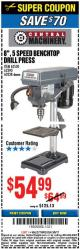"Harbor Freight Coupon 8"", 5 SPEED BENCH MOUNT DRILL PRESS Lot No. 60238/62390/62520/44506/38119 Expired: 3/5/17 - $54.99"
