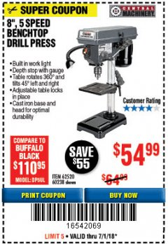 "Harbor Freight Coupon 8"", 5 SPEED BENCH MOUNT DRILL PRESS Lot No. 60238/62390/62520/44506/38119 Expired: 7/1/18 - $54.99"
