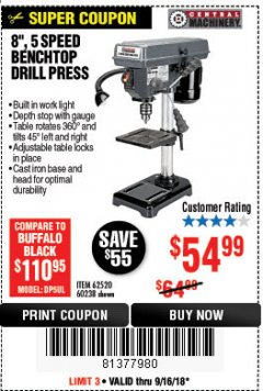 "Harbor Freight Coupon 8"", 5 SPEED BENCH MOUNT DRILL PRESS Lot No. 60238/62390/62520/44506/38119 Expired: 9/16/18 - $54.99"