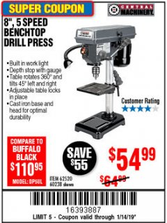 "Harbor Freight Coupon 8"", 5 SPEED BENCH MOUNT DRILL PRESS Lot No. 60238/62390/62520/44506/38119 Expired: 1/14/19 - $54.99"