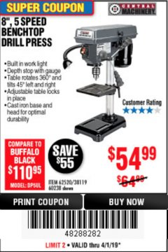 "Harbor Freight Coupon 8"", 5 SPEED BENCH MOUNT DRILL PRESS Lot No. 60238/62390/62520/44506/38119 Expired: 4/1/19 - $54.99"