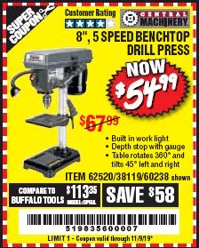 "Harbor Freight Coupon 8"", 5 SPEED BENCH MOUNT DRILL PRESS Lot No. 60238/62390/62520/44506/38119 Expired: 11/1/19 - $54.99"