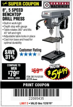 "Harbor Freight Coupon 8"", 5 SPEED BENCH MOUNT DRILL PRESS Lot No. 60238/62390/62520/44506/38119 Expired: 12/8/19 - $54.99"