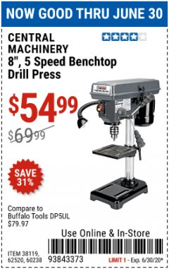 "Harbor Freight Coupon 8"", 5 SPEED BENCH MOUNT DRILL PRESS Lot No. 60238/62390/62520/44506/38119 EXPIRES: 6/30/20 - $54.99"