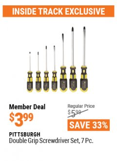 Harbor Freight ITC Coupon 7 PIECE DOUBLE GRIP SCREWDRIVER SET Lot No. 61655 Expired: 4/29/21 - $3.99
