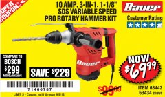 Harbor Freight Coupon 1-1/8 IN. 10 AMP HEAVY DUTY SDS VARIABLE SPEED ROTARY HAMMER Lot No. 61882/69274 Expired: 9/8/18 - $69.99