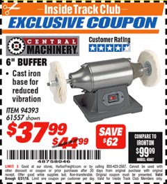 "Harbor Freight ITC Coupon 6"" BUFFER Lot No. 94393/61557 Expired: 8/31/18 - $37.99"