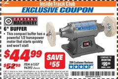 "Harbor Freight ITC Coupon 6"" BUFFER Lot No. 94393/61557 Expired: 1/31/19 - $44.99"