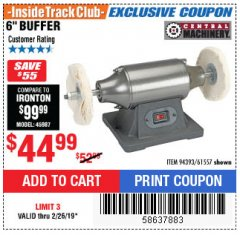 "Harbor Freight ITC Coupon 6"" BUFFER Lot No. 94393/61557 Expired: 2/26/19 - $44.99"