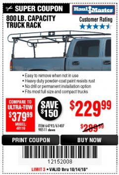 Harbor Freight Coupon 800 LB. CAPACITY FULL SIZE TRUCK RACK Lot No. 61407/98511 Expired: 10/14/18 - $229.99
