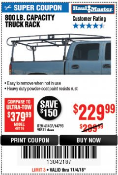 Harbor Freight Coupon 800 LB. CAPACITY FULL SIZE TRUCK RACK Lot No. 61407/98511 Expired: 11/4/18 - $229.99