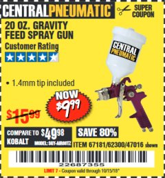 Harbor Freight Coupon 20 OZ. GRAVITY FEED SPRAY GUN Lot No. 47016/67181/62300 Expired: 10/15/18 - $9.99