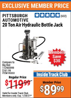 Harbor Freight ITC Coupon 20 TON AIR/HYDRAULIC BOTTLE JACK Lot No. 96147/69593/95553 Valid: 1/1/21 1/28/21 - $89.99