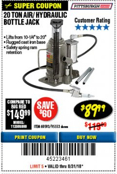 Harbor Freight Coupon 20 TON AIR/HYDRAULIC BOTTLE JACK Lot No. 96147/69593/95553 Expired: 8/31/18 - $89.99