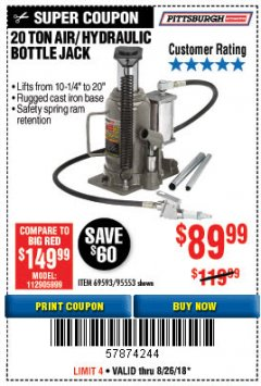 Harbor Freight Coupon 20 TON AIR/HYDRAULIC BOTTLE JACK Lot No. 96147/69593/95553 Expired: 8/26/18 - $89.99