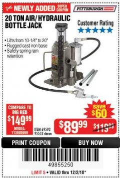 Harbor Freight Coupon 20 TON AIR/HYDRAULIC BOTTLE JACK Lot No. 96147/69593/95553 Expired: 12/2/18 - $89.99