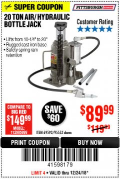 Harbor Freight Coupon 20 TON AIR/HYDRAULIC BOTTLE JACK Lot No. 96147/69593/95553 Expired: 12/24/18 - $89.99