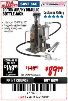 Harbor Freight Coupon 20 TON AIR/HYDRAULIC BOTTLE JACK Lot No. 96147/69593/95553 Expired: 1/31/19 - $89.99