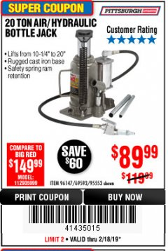 Harbor Freight Coupon 20 TON AIR/HYDRAULIC BOTTLE JACK Lot No. 96147/69593/95553 Expired: 2/18/19 - $89.99