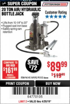 Harbor Freight Coupon 20 TON AIR/HYDRAULIC BOTTLE JACK Lot No. 96147/69593/95553 Expired: 4/28/19 - $89.99