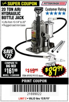 Harbor Freight Coupon 20 TON AIR/HYDRAULIC BOTTLE JACK Lot No. 96147/69593/95553 Expired: 12/8/19 - $89.99