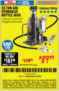 Harbor Freight Coupon 20 TON AIR/HYDRAULIC BOTTLE JACK Lot No. 96147/69593/95553 Expired: 1/31/20 - $89.99