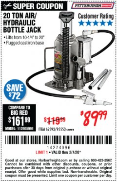 Harbor Freight Coupon 20 TON AIR/HYDRAULIC BOTTLE JACK Lot No. 96147/69593/95553 Expired: 2/7/20 - $89.99