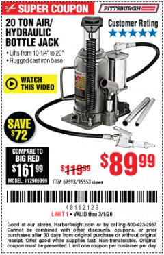 Harbor Freight Coupon 20 TON AIR/HYDRAULIC BOTTLE JACK Lot No. 96147/69593/95553 Expired: 3/1/20 - $89.99