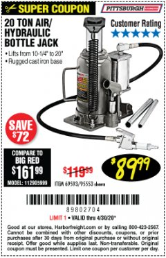 Harbor Freight Coupon 20 TON AIR/HYDRAULIC BOTTLE JACK Lot No. 96147/69593/95553 Valid Thru: 6/30/20 - $89.99