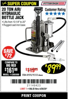 Harbor Freight Coupon 20 TON AIR/HYDRAULIC BOTTLE JACK Lot No. 96147/69593/95553 EXPIRES: 6/30/20 - $89.99