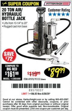 Harbor Freight Coupon 20 TON AIR/HYDRAULIC BOTTLE JACK Lot No. 96147/69593/95553 Valid: 4/10/20 - 6/30/20 - $89.99