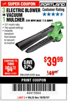 Harbor Freight Coupon 3 IN 1 ELECTRIC BLOWER VACUUM MULCHER Lot No. 62469/62337 Expired: 10/20/19 - $39.99